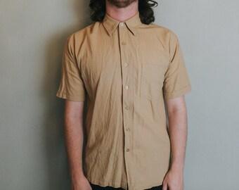 S Soft Linen Normcore Beige Short Sleeve Shirt