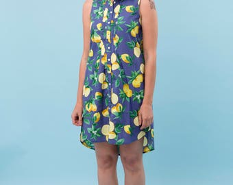 Blue Lemon dress, Lili dress, 100% cotton dress, summer vacation dress, yellow lemon, fruit printed dress