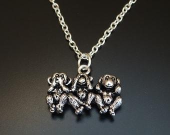 Three Monkeys Necklace, Three Monkeys Charm, Three Monkeys Pendant, Three Monkeys Jewelry, Hear no Evil, Speak no Evil, 3 Monkey Necklace