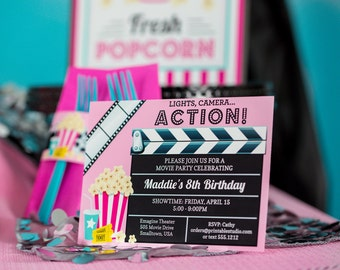 Movie Party Invitation - Printable Movie Invitation - Movie Night Invitation - Movie Invitation by Printable Studio