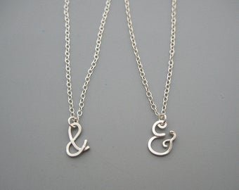 Silver Ampersand Necklace - and symbol charm with delicate sterling chain, wife birthday gift, typography jewelry