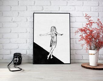 Wings are overrated, Girl with wings, Wall Art, Black and white print, Black And White Art, Contemporary Art, Girl on a cliff, Wings Art