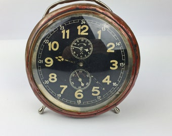 """Rare! """"REPETITION"""" 30's Working Vintage alarm Clock - mechanical clock Antique clock - Vintage Alarm Clock - Manual Winding - Working clock"""