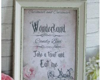 1 Vintage Alice in Wonderland Candy Bar Quote Print Sign - Wedding Decoration