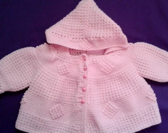 Hooded Pink Baby Sweater