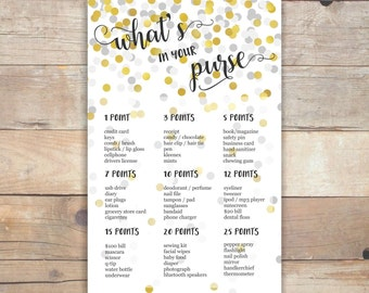 whats in your purse game bridal shower games party printables instant download party games bridal purse game wedding shower games - br60