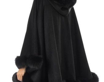Hooded Cape, Swing Coat, Wool cape, Cloak, Poncho, Wool Jacket