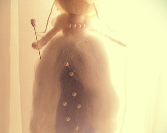 needle felted fairy,wool fairy,waldorf inspired,soft sculpture,winter fairy