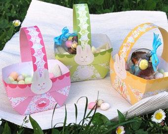 Easter basket Printable, Easter favor table decorations with bunnies & floral pattern on 3 baskets, orange, pink, pale green baskets , DIY