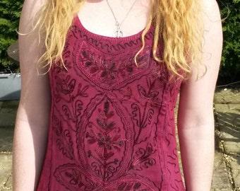 Indian Embroidery Design Tunic Cotton Dress, Hippy Boho Festival 8 10 12 Orange Pink Yellow Elephant