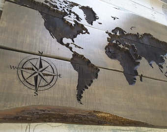 Rustic world map etsy world map carved wood sign rustic and gorgeous gumiabroncs Gallery