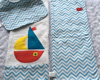 Bib and Burp Cloth Set In Flannel and Terry Cloth With Appliqued Sailboat. Nautical, Seaside, Sailing Set - Shower/Newborn Gift Boy Or Girl