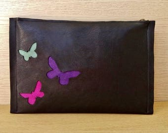 Butterflies Leather Clutch, Butterflies Black Leather Clutch, Cut Out Butterflies Leather Clutch Bag, Spring Butterflies Black Leather Purse