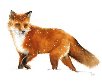 Fox watercolor Giclee Print - Woodland Red Fox painting - Fox Illustration - Kids Wall Art - Wildlife Fox Animal Illustration