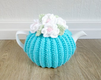Spring Floral Tea Cosy - Turquoise Blue Tea Cosy - Small Tea Cosy - Medium Tea Cosy - Large Tea Cosy  (MADE TO ORDER)