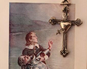 Cross and Heart / Pendant / Alpaca Silver / Cross