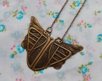 Large Moth Butterfly Art Deco Antique Brass Pendant Necklace