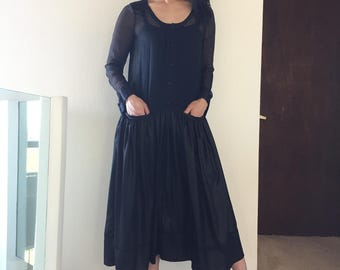 Initial Sheer Chiffon Pleated Top Shiny Glazed Shirred Full Skirt Black Dress
