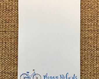 Bicycle Notepad - Notes - Desk - Personalized - Custom - Gift - Favor - 3.67x8.5 - 5.5x5.5 - 5.5x8.5