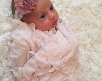 Dusty Rose Baby Headband, White Lace Shabby Chic headband, Baby Girl Headband, Newborn Headband, Lace Baby Headband, Baby Shower Gift