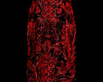 Red Beaded Black Chiffon Evening Gown          VG322