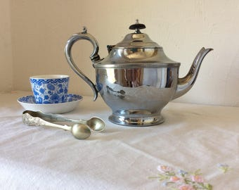 Antique teapot, 1920s, English teapot, afternoon tea, vintage tea time, Sheffield silver, art deco, retro home decor, shabby chic kitchen