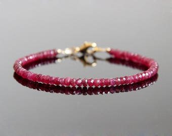 Ruby Bracelet - Genuine Ruby Bracelet, Ruby Bead Bracelet, Ruby Beaded Bracelet, July Birthstone Bracelet, Ruby Stacking Bracelet