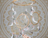 Pink Baby Mobile Dreamcatcher  Baby Mobile Dreamcatcher Boho Bohemian Baby Mobile Tribal Crib Nursery Baby Girl Baby boy