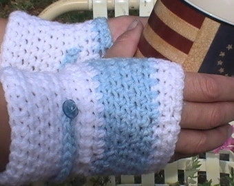 Gift for Girls.Crochet Fingerless Gloves.Fashion Hand Warmers.Teen Birthday Gift.Light blue and white