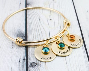 Gold Personalized Bangle Bracelet for Mom - Hand Stamped Mom Bracelet with Kids Names - Personalized Jewelry Mom Gift - Gift for Mom