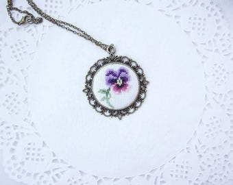Purple Pansy Embroidery Necklace, Cross Stitch Embroidery Pendant, Hand Stitched Necklace, Hand Embroidered Flower Necklace, Fabric Necklace