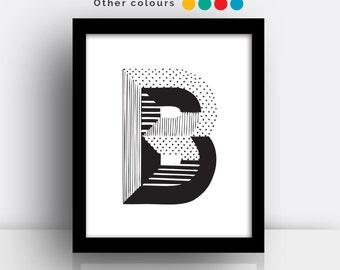 Letter B print - hand drawn typeface