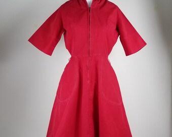 Vintage twill shirt dress / vintage swing dress / Countrywise Macshore dress / Zip front uniform dress / Rockabilly dress / vlv / retro