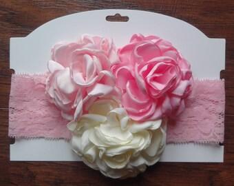 Newborn Headband, Singed Flower, Pink Cream, Pink Headband, Lace Headband, Burned Edge Flower, Baby Headband, Toddler Headband, Cakesmash