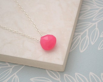 Pink Chalcedony Necklace, 925 Sterling Silver, Hot Pink Gemstone, Faceted Teardrop Necklace, Gift for Her, UK Seller