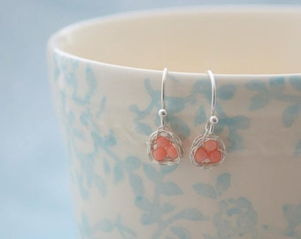 Sterling Silver Birds Nest Earrings, Wire Wrapped Coral Beaded Ear Wires