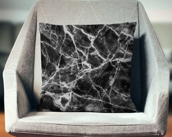 Marble Throw Pillow | Marble Cushion | Black Marble Decor | Marble Home Decor | Marble Decor | Marble Pillow Cover | Marble Pillow