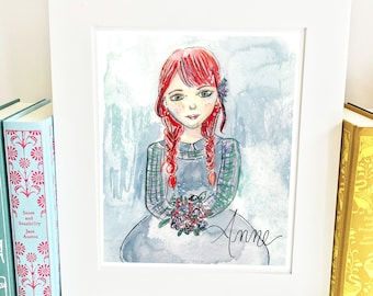 Watercolor Anne Shirley - illustrated - Girls Room Decor - literary - WAS