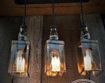 Industrial Triple Whiskey Pendant Lighting with Canopy, Edison Lighting, Industrial Lighting, Whiskey Bottle Lighting, Home Decor, Upcycled