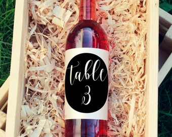 Wine bottle table numbers Custom wine label wine table number label Wine bottle number Bottle label Wine Label Wedding wine bottle PRINTABLE