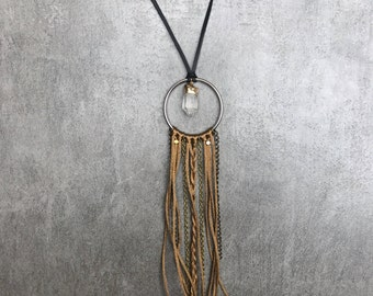 Long bohemian leather crystal necklace, Dreamcatcher statement necklace