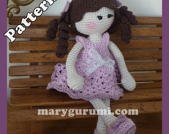 "Crochet Pattern, pattern, tutorial, Amigurumi doll, Bénédicte ""girl"""