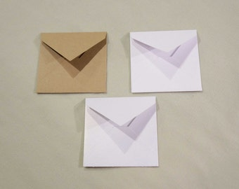 "3 1/4"" x 3 1/4"" envelopes - Free Shipping - (30) kraft white gold shimmer cardstock envelopes for 3"" x 3"" note cards, advice cards, album"