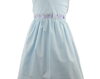 Marco & Lizzy Girl's Size 4 Blue Striped Dress with Liberty of London Floral Print Trim