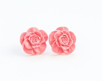 Coral Earrings Flower Studs Cute Stud Earrings Pink Stud Earrings Coral Stud Earrings Flower Post Earrings Unique Studs Pink Post Earrings