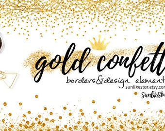 Gold Glitter Confetti Border Clipart: Digital Confetti Borders, Glitter Border, Confetti Border, confetti clipart, gold overlays, header 122