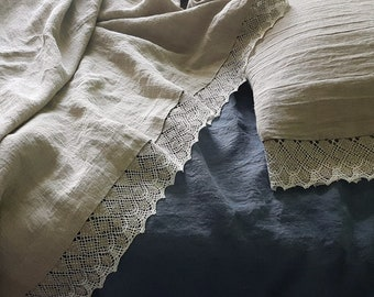 Pure linen sheets with linen lace, washed linen sheets from natural flax grey heavier linen, undyed linen bedding, Queen Cal King sheets