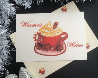 Warmest Wishes Christmas Card. Hand made greeting card. Hot Chocolate illustration. Hand drawn card. Original illustration. Winter cards.