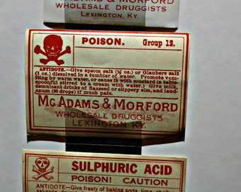 Authentic Vintage Poison Bottle Labels - Set of 4
