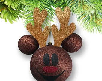 Large Mickey-shaped Rudolph Ornament